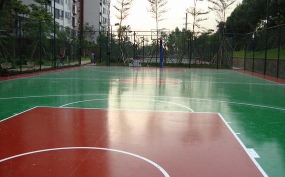 濟南物業管理學校硅PU羽毛球場和籃球場